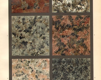 1903 Granite Types Original Antique Chromolithograph