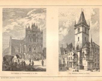 1888 European Medieval Architecture,  Original Antique Engraving