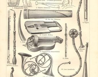 1909 Vintage Print of Musical Instruments, Wind Instruments, Stringed Instruments, Bowed String Instruments, Brass Instruments