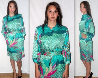 Abacab .... 80s day dress / abstract silky shirtwaist / 1980s high waist secretary midi .... XS S / bust 36