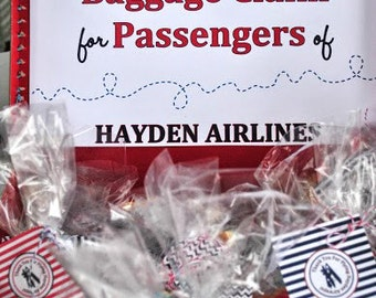 Vintage Airplane Favor Tags - red and navy | Vintage Airplane Thank You Tags | Vintage Airplane Party Printables | Aviator Party