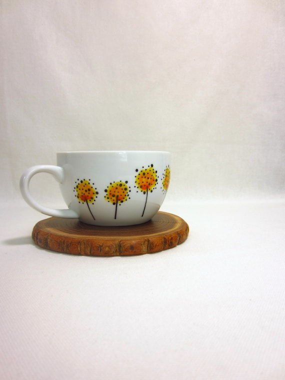 Hand Painted Yellow Flower Tea Cup No. 2, Garden Home Decor
