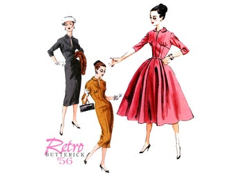1950s Dress Pattern Uncut Butterick B5813 Reissue Full Skirt or Sheath Dress Dress Day or Evening Cocktail Womens Vintage Sewing Pattern