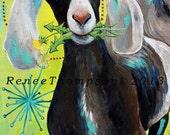 Bright Eyes, GREETING CARD - goat painting, nubian goat, goat art, yellow, green, turquoise, dandelion art