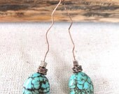 Fremantle Collection earrings - bent copper wire with turquoise