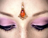 Fire Opal Bindi, gold bindi, amber bindi, tribal fusion bellydance bindi, bohemian, festival jewelry, forehead jewelry, pagan bindi, wicca