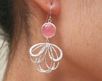 Silver Pink Dangle Earrings. Wedding Earrings. Bridesmaid Gift. Bridal Jewelry. Valentines Day Gift. Coral Pink. Blush Pink. Pink Earrings.