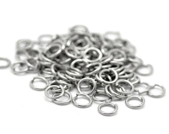 6mm Jump Rings : 100 Antique Silver Open Jump Rings 6mm x .8mm (20 Gauge) -- Lead, Nickel, & Cadmium free Jewelry Finding 6x.8P.100