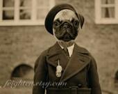 Pug Art Print, Anthropomorphic, Animal in Clothes, Dog Art, Sepia Print, Dog in Suit, Animal Art Print, Mixed Media Collage