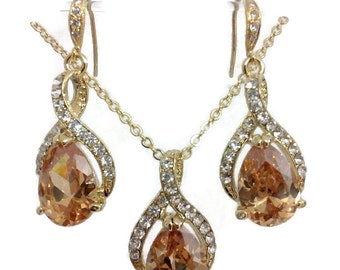 Topaz Bridal Jewelry Set, Bridesmaid Earrings, Cz Earrings ubic Zirconia Bridesmaid Necklace, Teardrop Earrings, Bridesmaid Gift, TWIRL