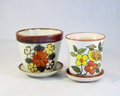 Vintage 1970s Stoneware Pots Planters  HAND DECORATED Set of 2