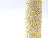 Twine yellow 100m full spool / thick 12 ply yellow and white striped cotton bakers twine