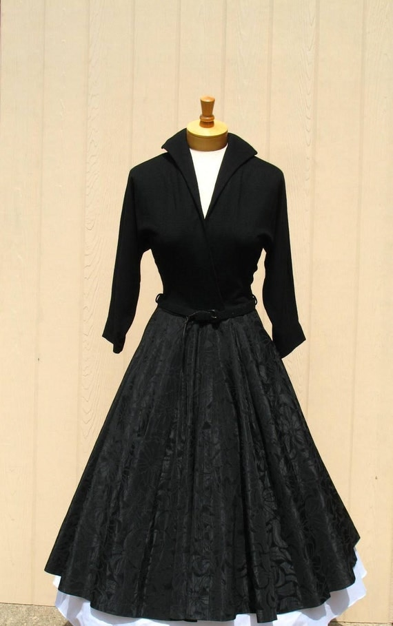Sale Vintage 50s Dress 50s Full Skirt Dress 1950s Black