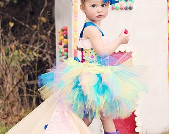 Candyland Cupcake Gumdrop Sugar and Spice Tutu Ensemble with Detachable Train for Pageants, Birthdays, Costume