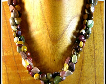 Imperial and Mookite Jasper Necklace Complemented With Oregon Fire Opal