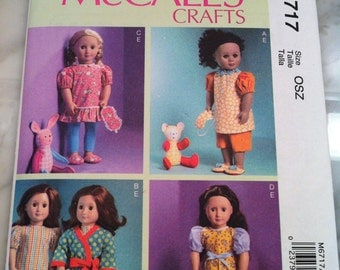 McCall's Crafts Pattern M6717 New Uncut, Factory Fold for 18 Inch Dolls