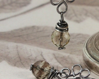 Artisan Smokey quartz and antiqued wire wrapped sterling silver earrings