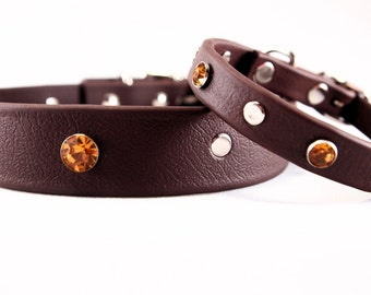 Studs and Bling Brown Collar