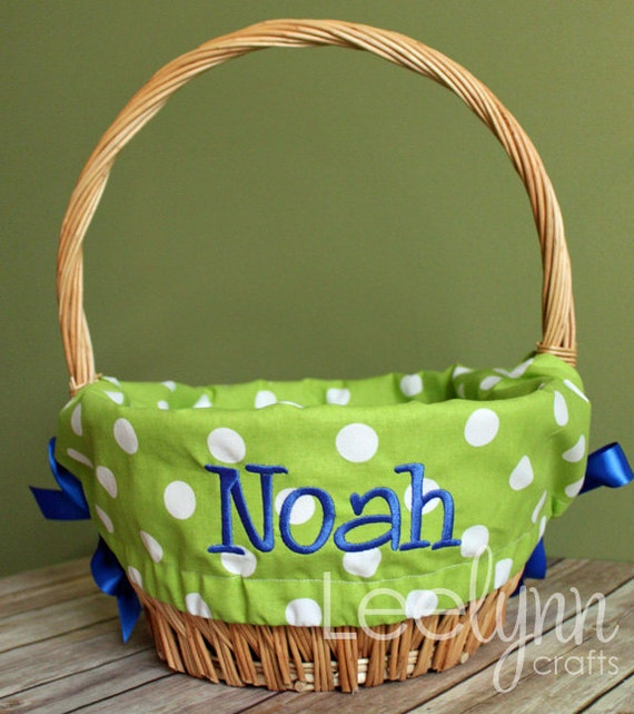 Personalized Easter Basket Liner Green Polka Dot
