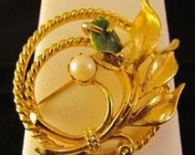 Jade Garden Sarah Coventry Brooch + FREE Pendant Converter  + FREE Kramer Earrings