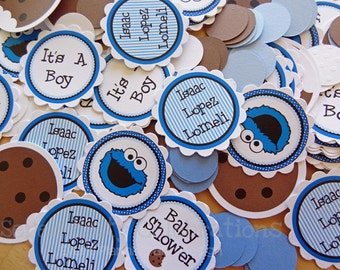 Personalized Table Confetti -Cookie Monster Inspired Collection: Confetti -Table Minis -Birthday -Baby Shower -1st Birthday -Blue Monster
