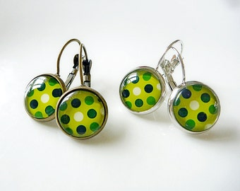 Earrings Retro Green spotty dots - Colour fun Earrings in Antiqued Brass or Silver