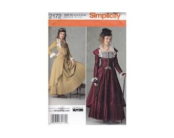 Simplicity 2172 Gothic Steampunk Bustier Corset Cut away Jacket and Skirt Uncut Sewing Pattern Sizes 14 16 18 20 22 Bust 36 38 40 42 44