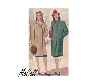 1940s Ladies and Misses Coat UNCUT Vintage Sewing Pattern McCall 5356 Size 16 Bust 34 Pockets dress day or casual coat WWII WW2 Wartime