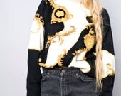 80s Vintage Baroque Gold Embroidered Crown Print Wool Sweater Jumper Black and White Medium