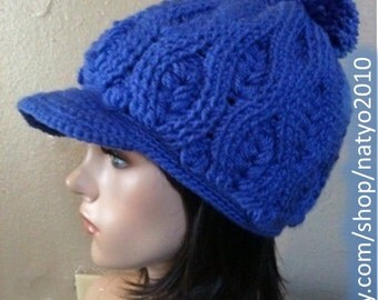 INSTANT DOWNLOAD Blue Wheat Crochet Hat Pattern With Brim and pom pom (optional)