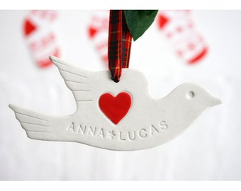 Personalized ceramics dove wedding favour-hanging decoration-christening gift
