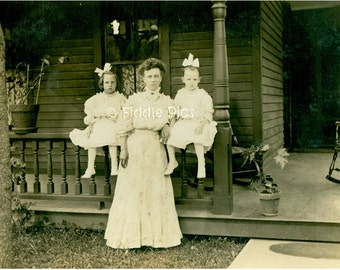 Mother Daughter Photo | Antique Photograph | White Dress Big Hair bow 1908