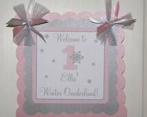 Winter Onederland Door Sign, Winter Wonderland Door Sign, Snowflake Door Sign (Pink & Grey) by The Party Paper Fairy (WONE-1)