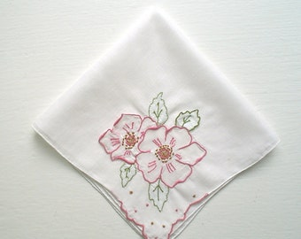 Hankie with Pink Fluttering Roses Hand Embroidered Vintage Handkerchief
