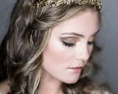 Bridal Headband, Swarovski Crystal Wedding Headband, Victorian Style Flower Leaf Headpiece, Wedding Halo, Vintage Style Hairpiece (ORIEL)