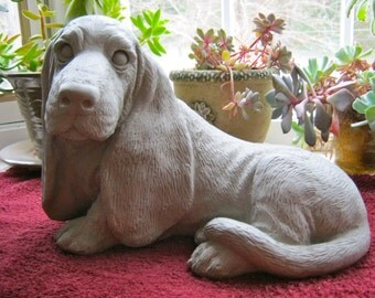 Basset Hound Statue, Concrete Dog Statue, Cement Garden Decor, Pet Dog Memorial, Statues Of Dogs, Statues Of Basset Hounds, Garden Statues