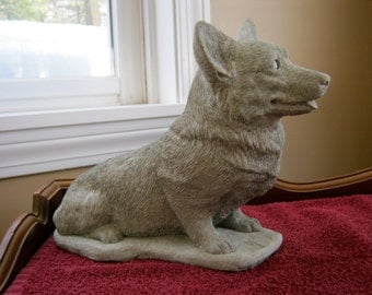 Corgi Dog Statue, Concrete Pembroke Welsh Corgi's Figures, Cement Garden Decor, Pet Memorial Headstone.