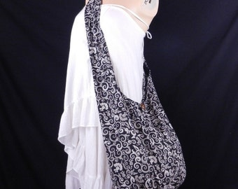 Thai Cotton Hippie Hobo Sling Crossbody Bag Messenger Purse Floral Mosaic Black MO1