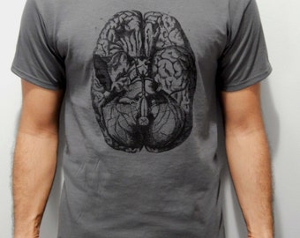Mens Screen Printed Anatomy Brain Shirt