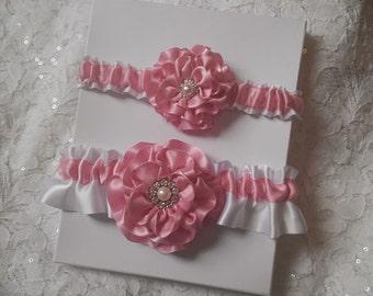 Wedding Garter Set, Rose Pink Wedding Garter Set, Light Pink, White Bridal Garter Set, Pearl and Rhinestone Garters, Bridal Garter Set