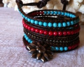 Summer Dream 5 Wrap Bracelet with Turquoise and Coral Bamboo Beads and Brass Nugget Beads