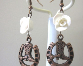 Wild West Cowboy Boot Horse Shoe White Roses Earrings