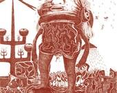 Illustration -Apocalyptic futuristic dark pestizide drama picture print with antennas suffering rain on 250g paper