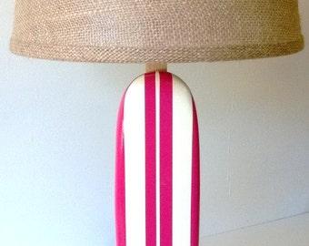 Surfboard Lamp, Nursery Lamp, Girl Surfboard Lamp Pink