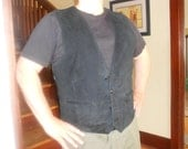Mens Black Leather Vest
