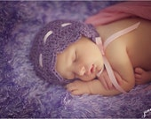 Newborn Bonnet Purple with Pink Ribbon
