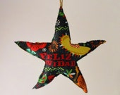 Southwestern Christmas Star Ornament- Feliz Navidad stars, country western xmas decoration, perfect for the farm or ranch
