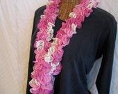 Fall Knit ruffle Scarf pink white gold women's scarf