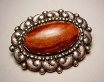 Antique Danish Skonvirke Evald Nielsen Arts Crafts Art Nouveau Jugendstil 830 Silver Brooch Pin Amber Georg Jensen Skønvirke Jugend Brosche