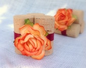 Tangerine Place Card Holder, Weddings, Bridal Showers, Set of 10 Recycled Wine Corks, Handmade Florals, Custom Colors Available